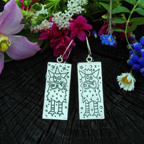 Monster earrings, fun, polished silver
